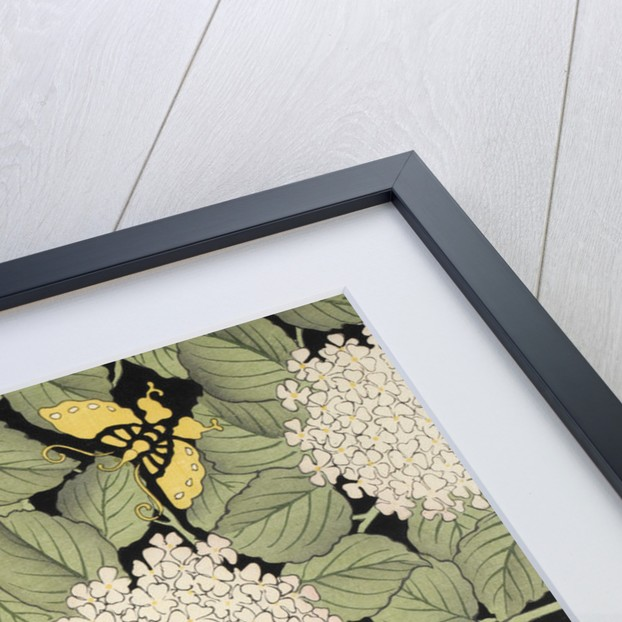 Flowers, leaves and yellow butterflies Japanese blockprint by Anonymous