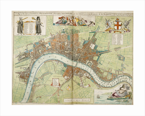 London and Westminster rebuilt after the Great Fire of London map by Anonymous