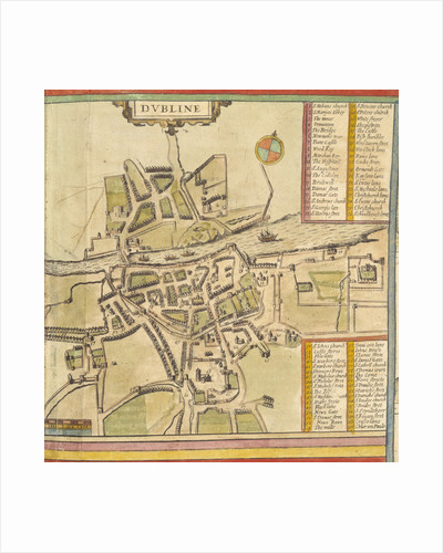 A historic map of Dublin by Georg Braun