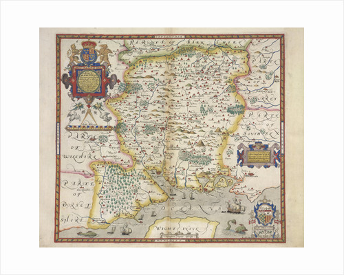 Map of Hampshire by Christopher Saxton