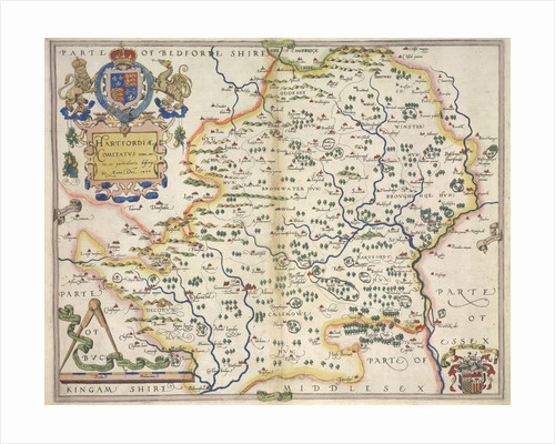 Map of Hertfordshire by Christopher Saxton