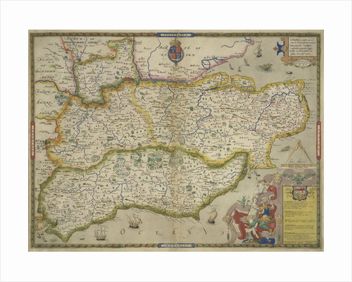 Map of Sussex, Kent, Surrey and Middlesex by Christopher Saxton