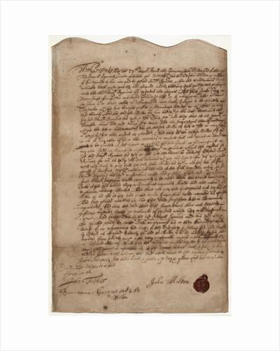 <i>Paradise Lost</i> contract by John Milton