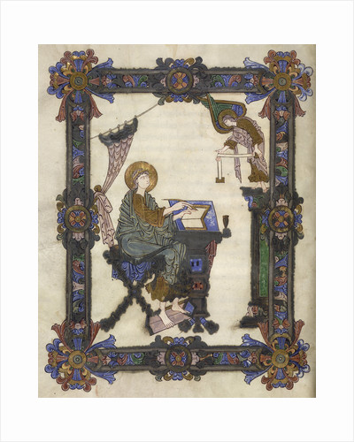 St Matthew and his symbol, from the Grimbald Gospels by Anonymous