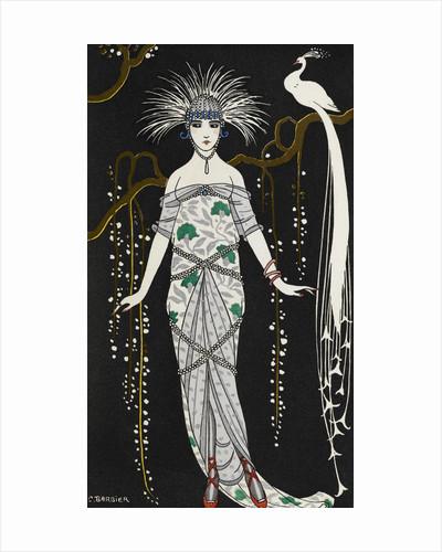 Grande robe du soir en brocart d'argent by George Barbier