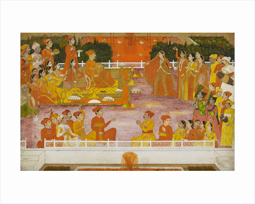 A young nobleman enjoying Holi with his consort by Nidhamal