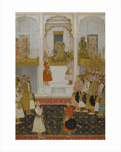 Prince Aurangzeb reports to Shah Jahan in durbar at Lahore in 1649. by Anonymous