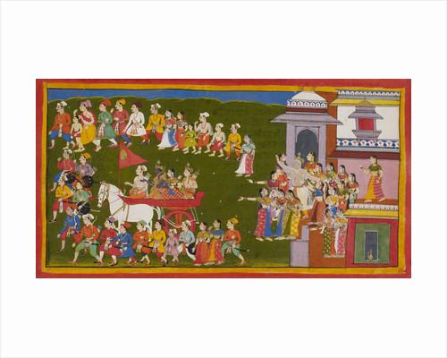 Rama, Sita and Laksmana leave Ayodhya by Anonymous