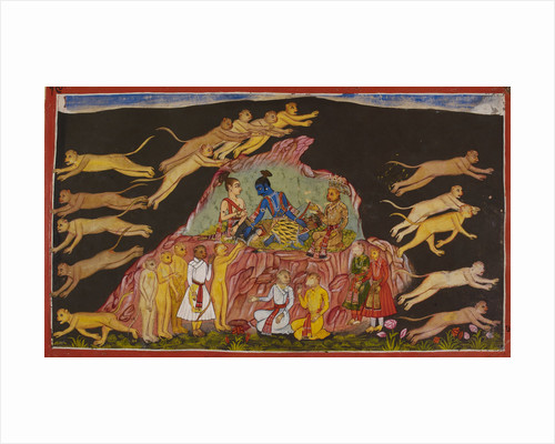 Sugriva sends out the monkeys to rescue Sita by Anonymous
