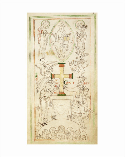 King Cnut and Queen Emma-Ælfgifu presenting a cross to the altar of New Minster by Anonymous