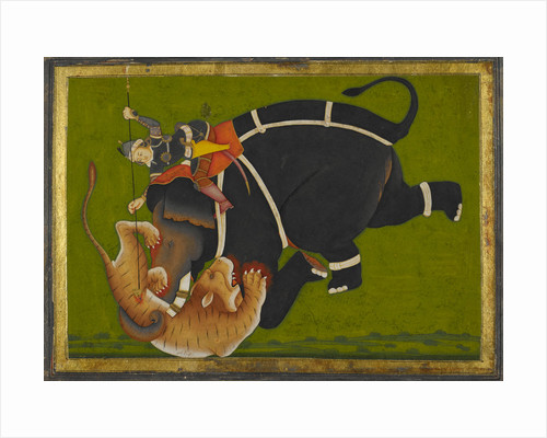An elephant and rider trampling a tiger by Mir Kalan