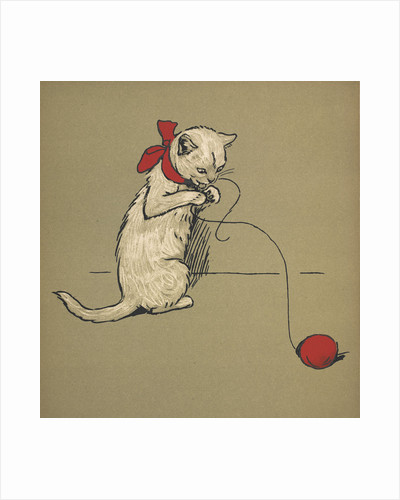 Kitten playing with string by Cecil Aldin
