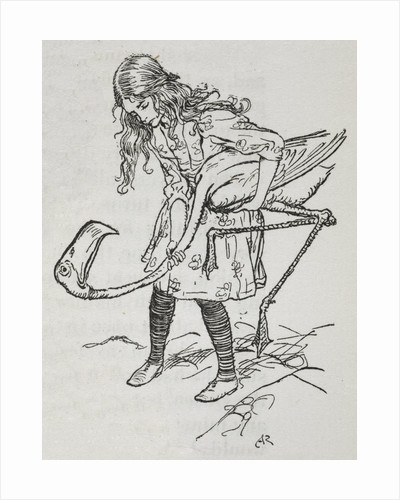Alice playing croquet with a flamingo by Arthur Rackham