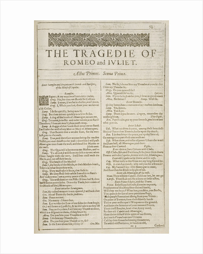 Romeo and Juliet Shakespeare's First Folio title page by William Shakespeare