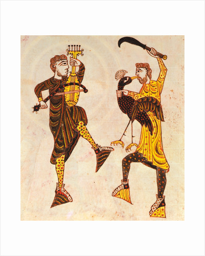 Dancing men with a sword and bird by Anonymous
