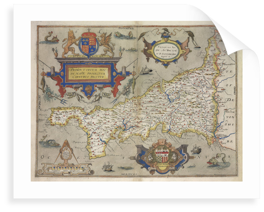 Map of Cornwall by Christopher Saxton