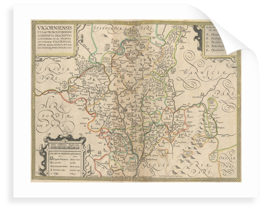 Map of Worcestershire by Anonymous
