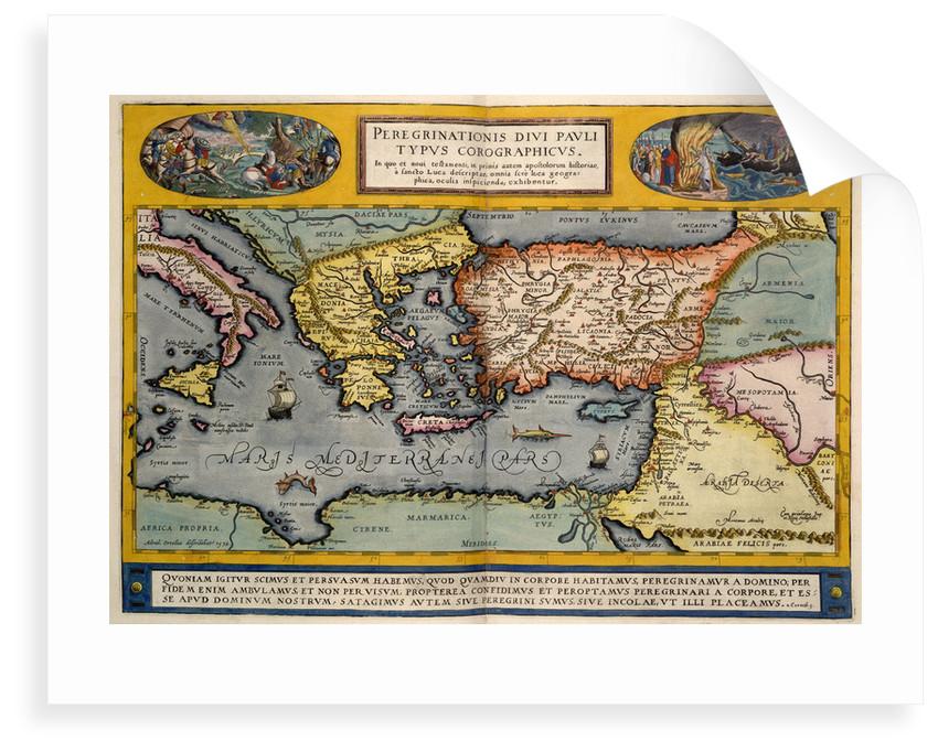 Map of the Mediterranean by Abraham Ortelius
