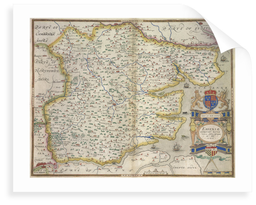 Map of Essex by Christopher Saxton