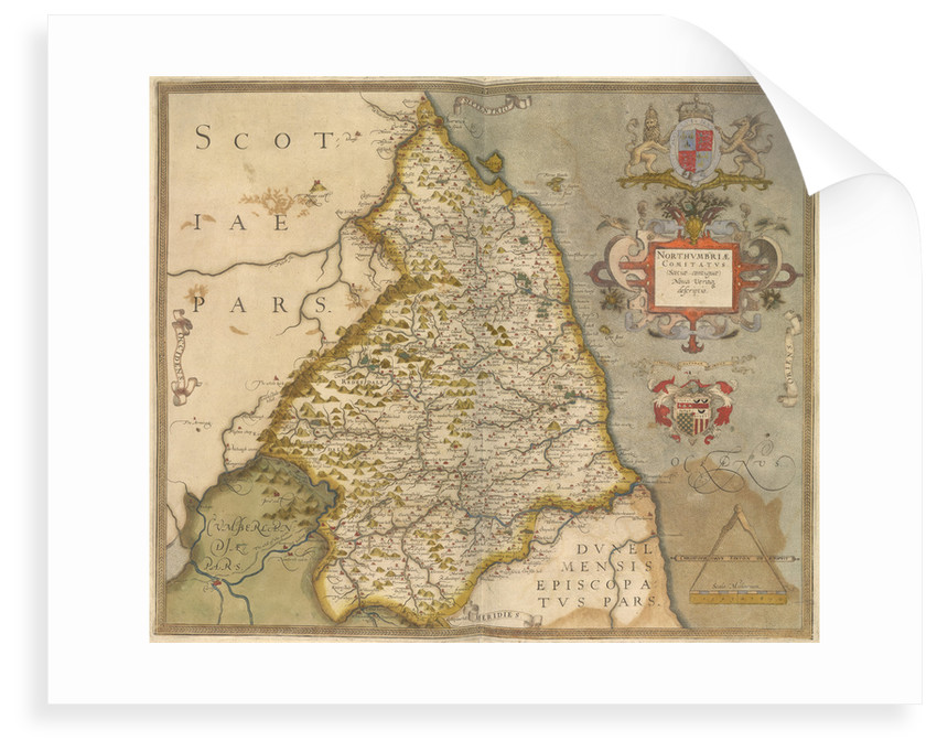 Map of Northumbria by Christopher Saxton