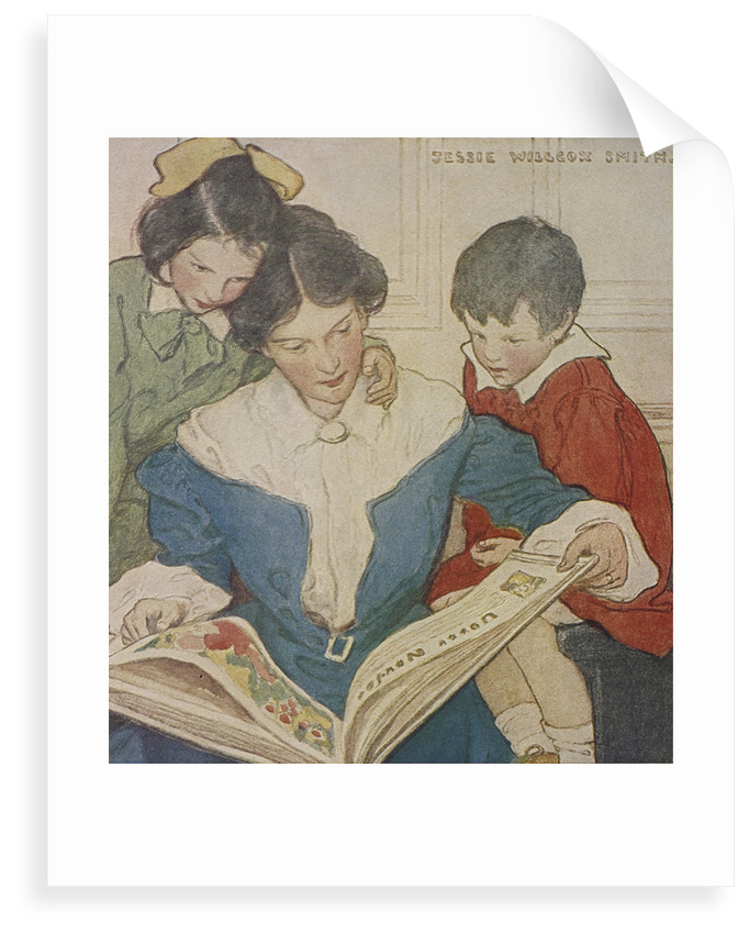 A mother and her children reading a book by Jessie Willcox Smith