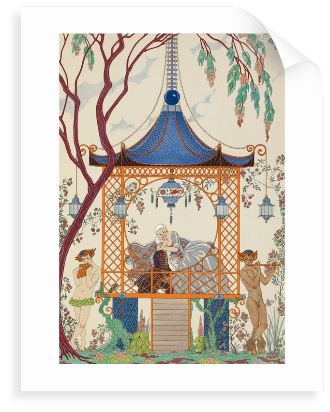 Romance in the gazebo by George Barbier