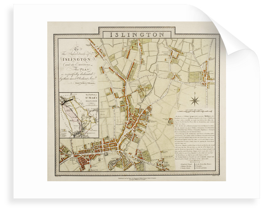 Map of Islington, London by Edward & Benjamin Baker