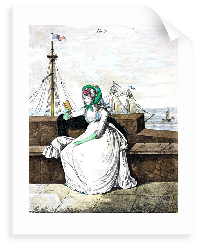 Georgian fashion: a lady reading by the sea by Anonymous