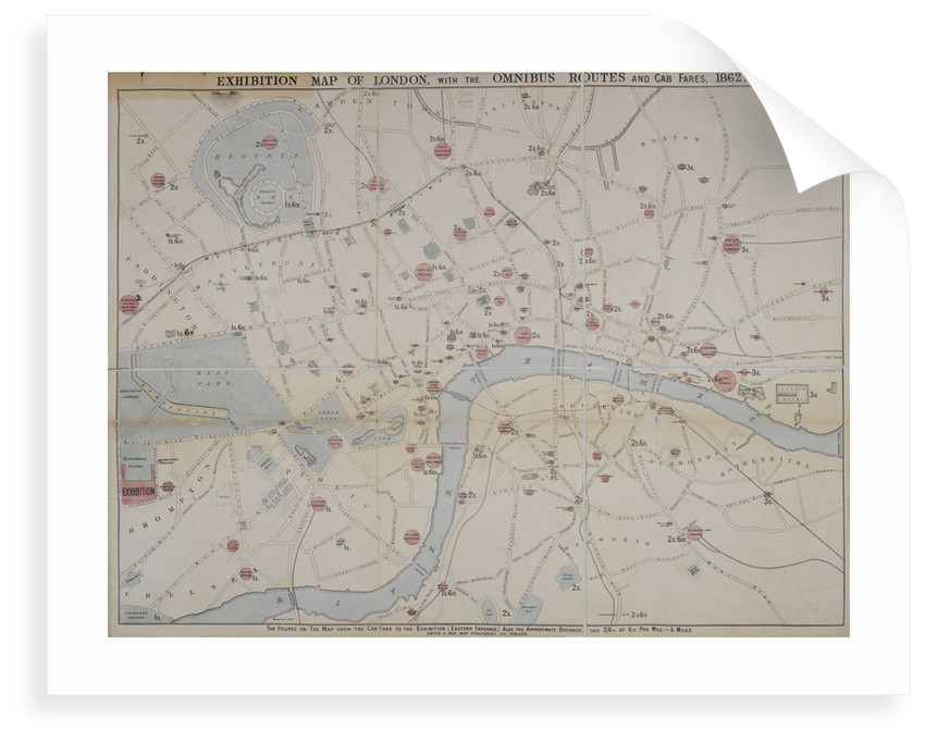 Map Bus London.1862 Map Of London With Bus And Cab Routes