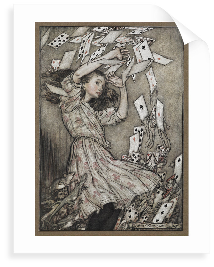 Alice and the falling pack of cards by Arthur Rackham