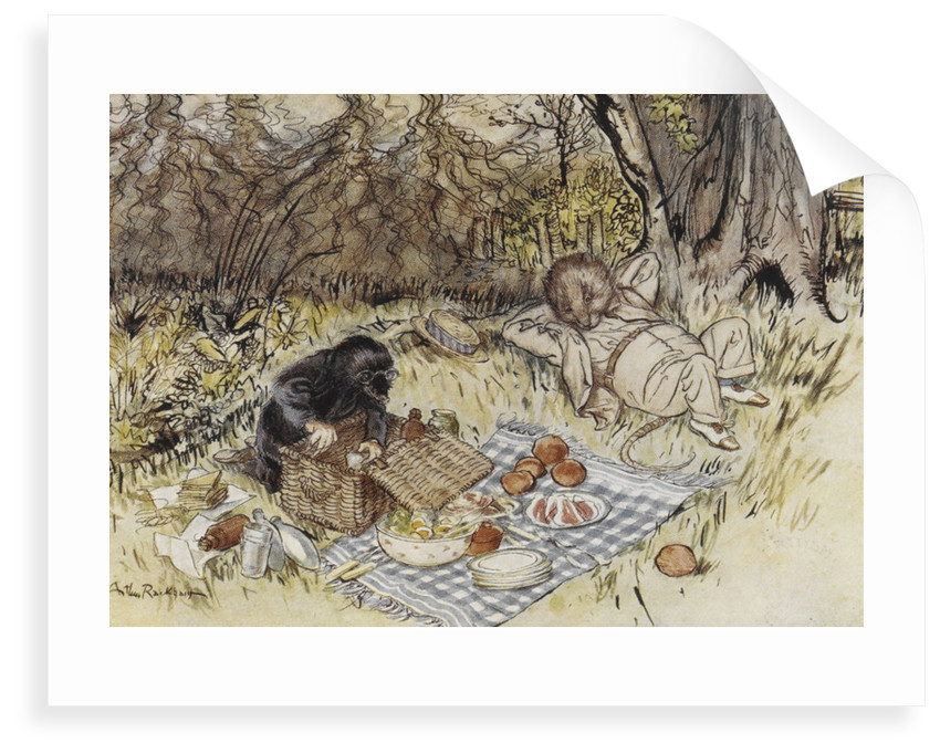 Rat and Mole having a picnic by Arthur Rackham