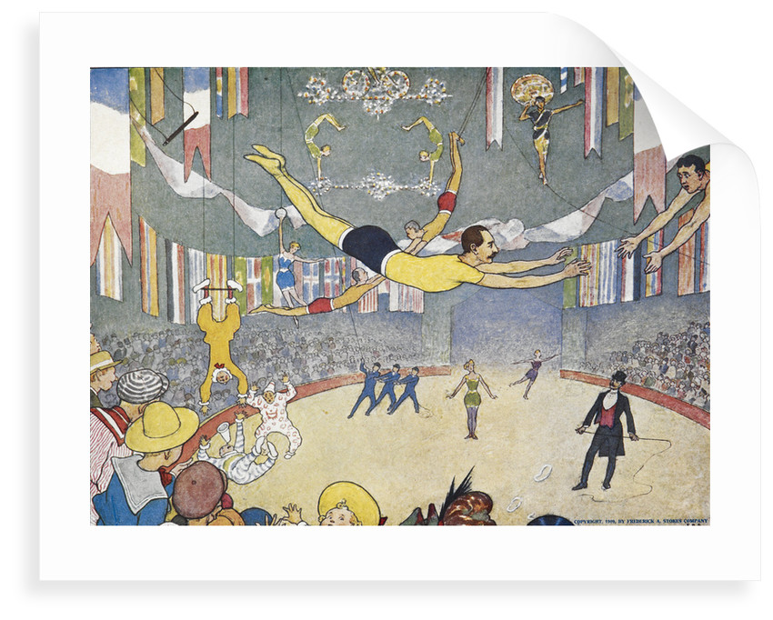 Trapeze artists leap through space print by Elmer Boyd Smith