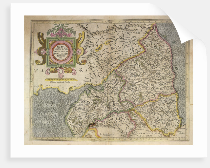 Map of Northumbria by Gerardus Mercator