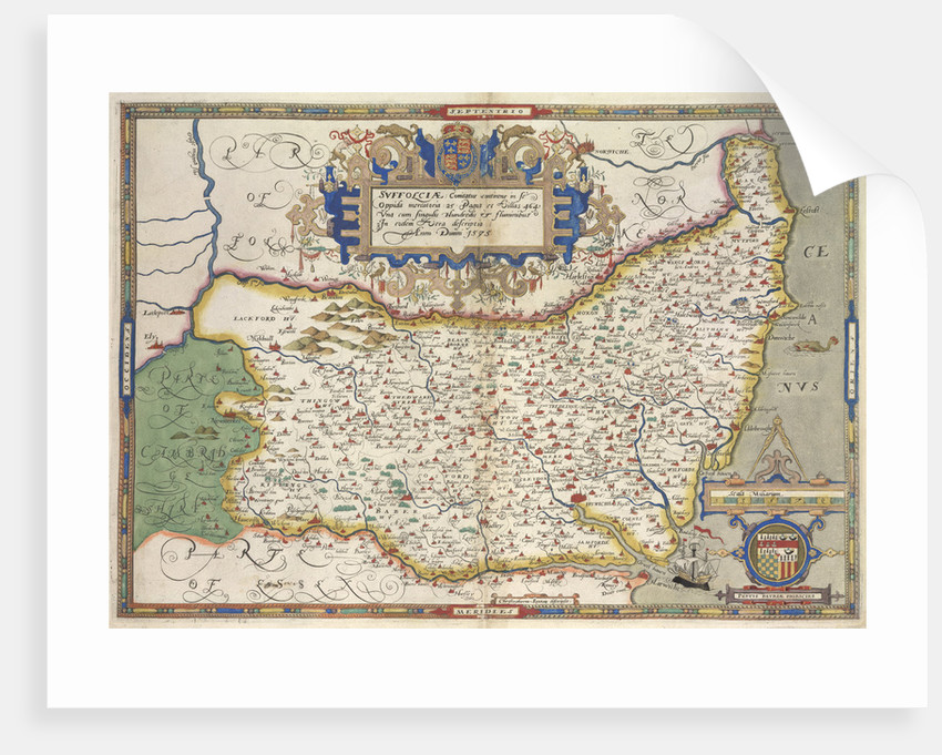 Map of Suffolk by Christopher Saxton