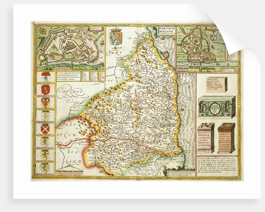 Map of Northumberland by John Speed