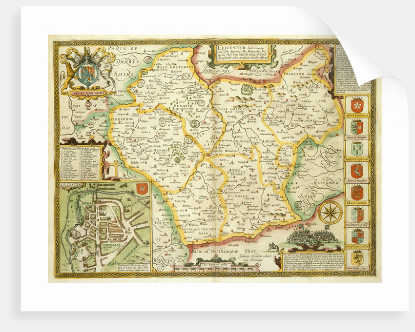 Map of Leicestershire by John Speed