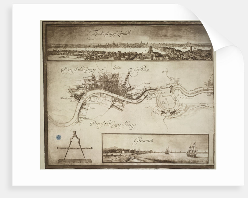 A prospect and map of London by Wenceslaus Hollar
