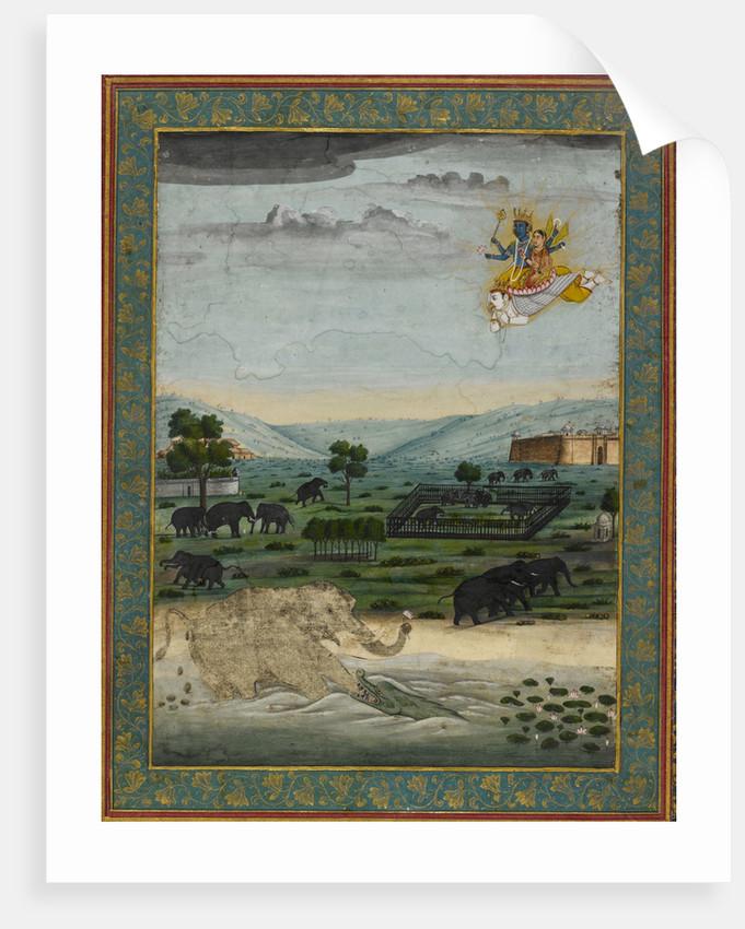 Vishnu flying on Garuda to rescue the elephant king by Dip Chand