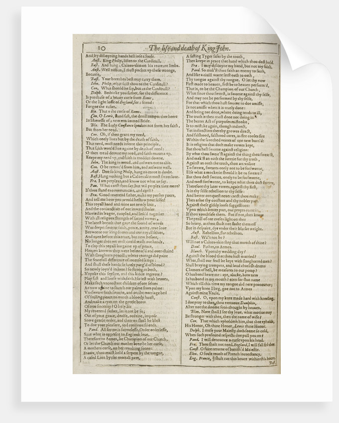 King John - Shakespeare's First Folio by Anonymous