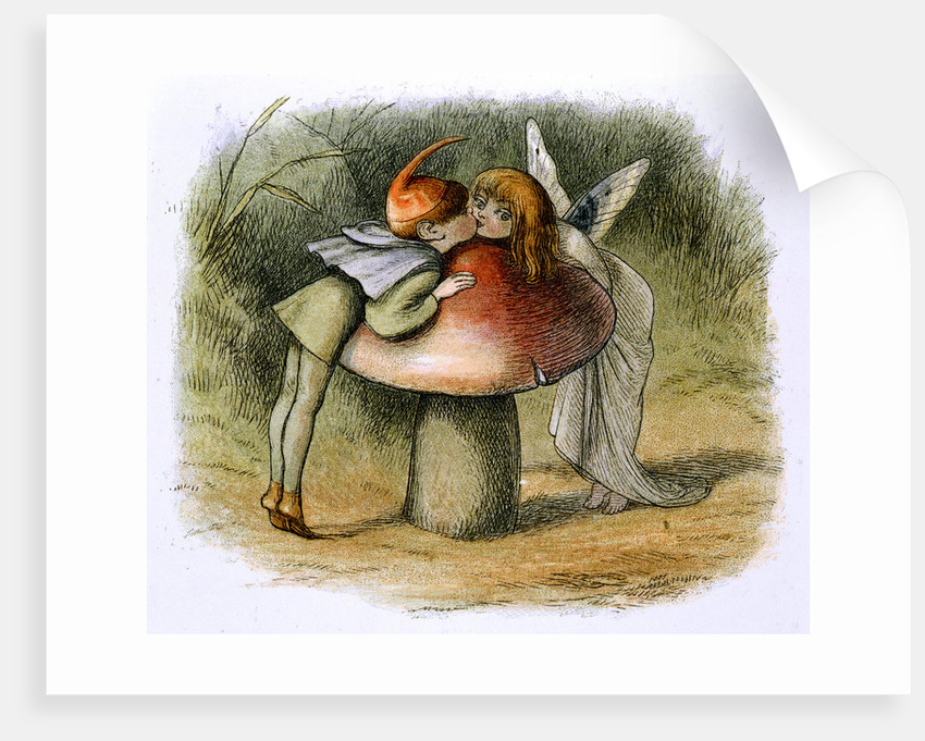 A fairy and an elf kissing by Richard Doyle