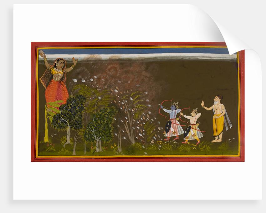 Rama kills the demoness Tadaka by Manohar