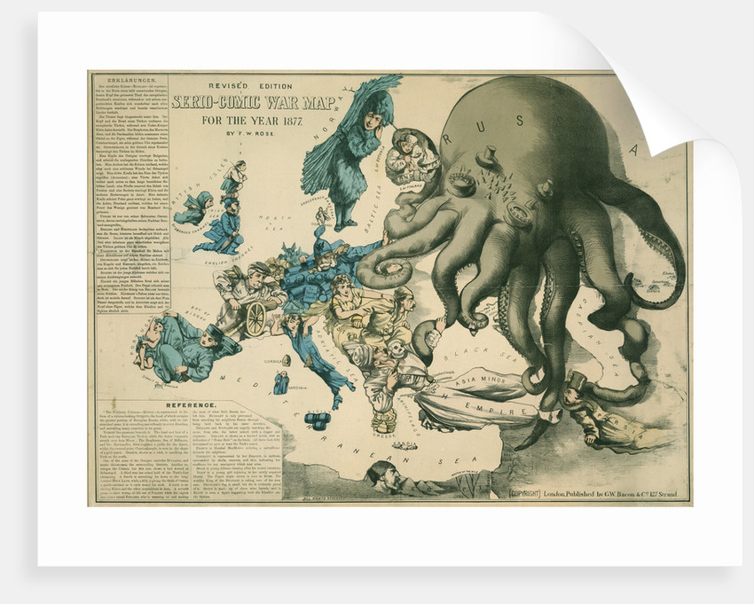 Serio-Comic War Map for the year 1877 by Fred W Rose