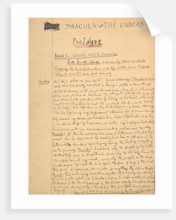 Dracula manuscript by Bram Stoker