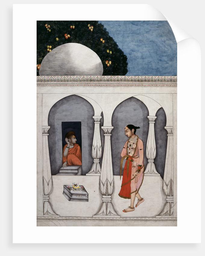 A lady visiting a shrine by Muhammad Faqirallah Khan