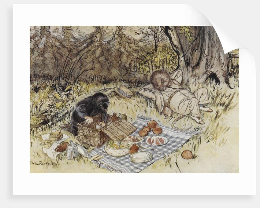 Rat and Mole having a picnic by Arthur Rackham