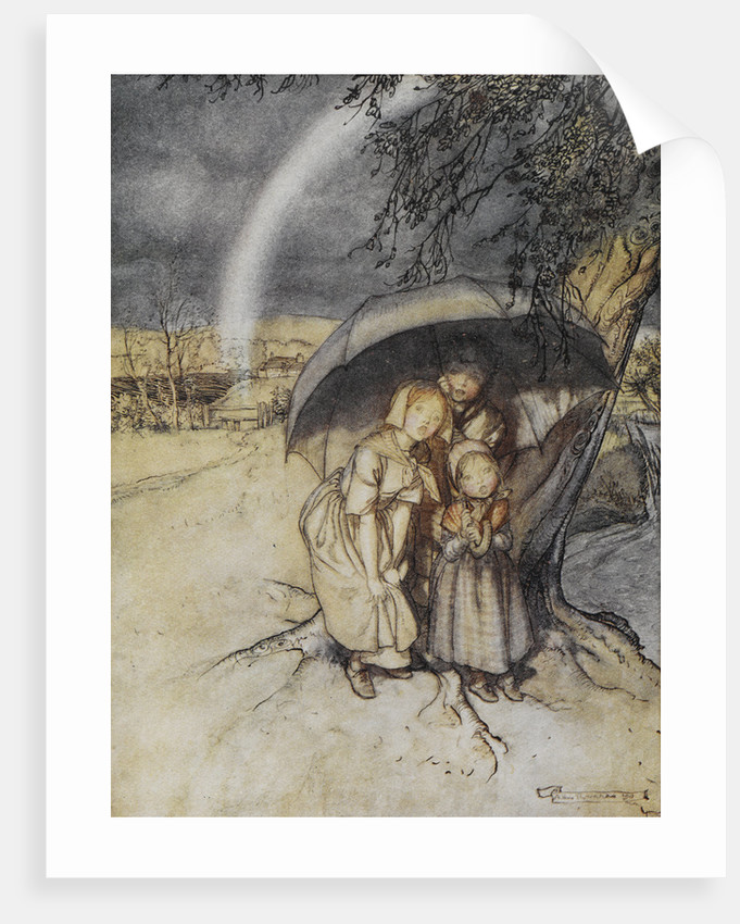 Rain, rain go to Spain print by Arthur Rackham