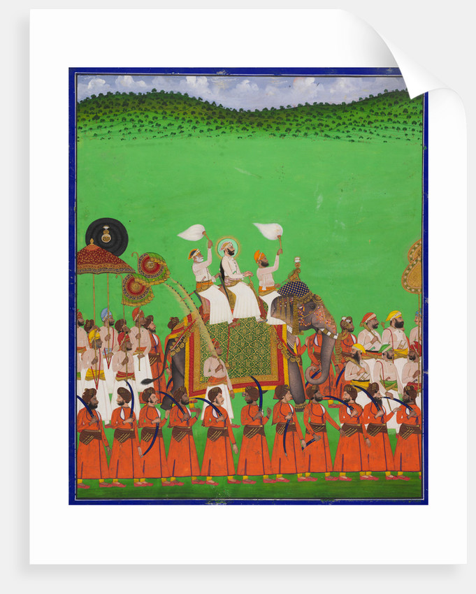 Maharana Fateh Singh of Udaipur atop an elephant by Shivalal