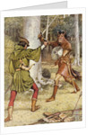 Robin Hood and Guy of Gisborne fighting by Walter Crane