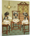 Three little girls sitting on chairs by J G Sowerby