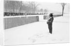Veteran in the snow at the Vietnam Veterans Memorial by Michael Katakis